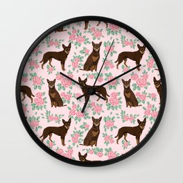 Kelpie florals dog breed cute gifts pattern dog lover pet portraits pet friendly designs Wall Clock