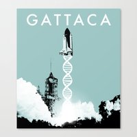 movie poster Canvas Prints featuring Gattaca - Movie Poster by Joel Amat Güell