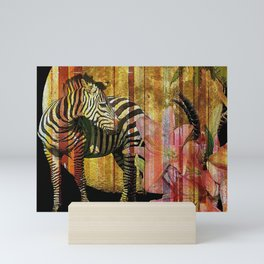 Zebras Lilies and a Harvest Moon Mini Art Print