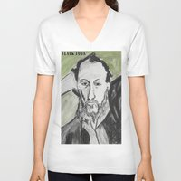 writer V-neck T-shirts featuring Writer by black door