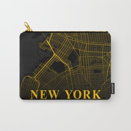 New York City Map | Gold City Street Map | United States Cities Maps Carry-All Pouch