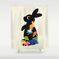 alice in wonderland Shower Curtains featuring Alice by Andy Westface