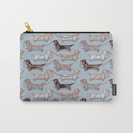 Origami Dachshunds sausage dogs // pale blue background Carry-All Pouch