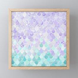 Mermaid Iridescent Purple and Teal Pattern Framed Mini Art Print