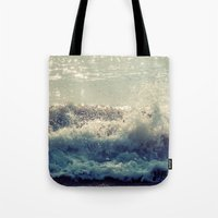 wave Tote Bags featuring wave by Neon Wildlife