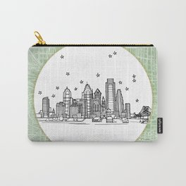 Philadelphia, Pennsylvania City Skyline Illustration Drawing Carry-All Pouch
