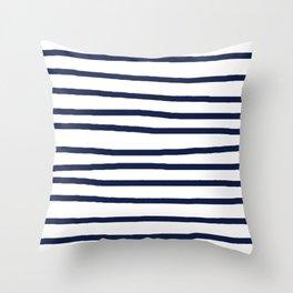 Simply Drawn Stripes in Nautical Navy Throw Pillow