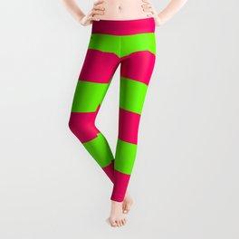 Bright Neon Green and Pink Horizontal Cabana Tent Stripes Leggings