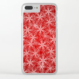 Snowflakes pattern on red background Clear iPhone Case