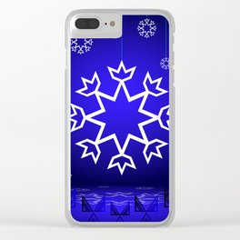 Xmas Blue with snowflake and tipi Clear iPhone Case