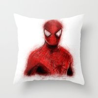 spider man Throw Pillows featuring Spider-Man by KitschyPopShop