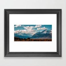 blue sky white clouds Framed Art Print