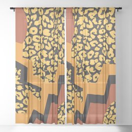 Leopard pattern in 80's style Sheer Curtain