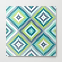 Aztec Diamond Block Ptn Teals Blues Lime White Metal Print