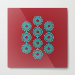 turquoise and vermilion flower Metal Print