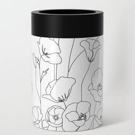 Poppy Flowers Line Art Can Cooler