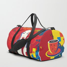 """Beautiful Fashion Woman and Coffee Cup"" POP-ART poster, Retro, Design Duffle Bag"