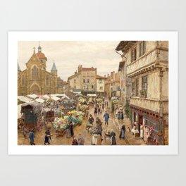 The Flower Market, Paris, France by Firmin Girard Art Print