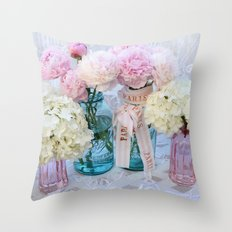 Romantic Pink Peonies Spring Floral Decor Throw Pillow