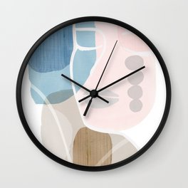 Abstract Face in Pastel Pink & Blue Wall Clock