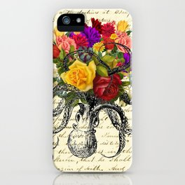 Octopus Attacking Flowers iPhone Case