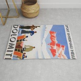 Dolomites Italy Vintage Ski Poster Rug