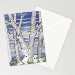 nuthatches, bunnies, and birches Stationery Cards