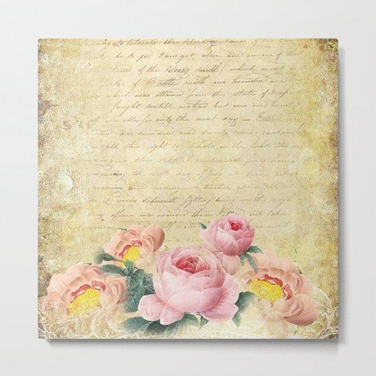 Old Vintage Love Letter Roses #7 Metal Print