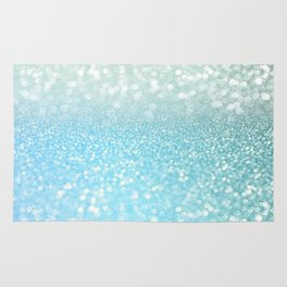 Mermaid Sea Foam Ocean Ombre Glitter Rug