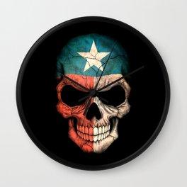 Dark Skull with Flag of Texas Wall Clock
