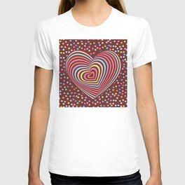 multi-colored rainbow heart on dark brown background. 3D T-shirt