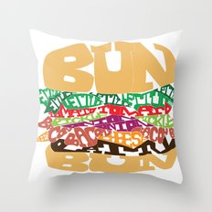 Word Drawing Burger Throw Pillow