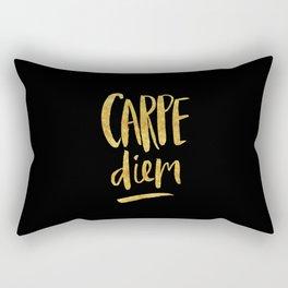 Carpe Diem in Gold Foil Rectangular Pillow