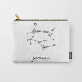 Gemini Floral Zodiac Constellation Carry-All Pouch