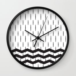 Black and white abstract geometric rain and sea Wall Clock