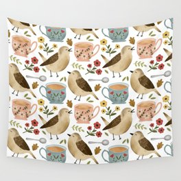 Birds, Teacups, and Flowers Wall Tapestry