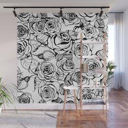 Hand drawn roses pattern Wall Mural