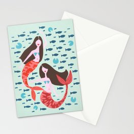 Koi Mermaids on Mint Stationery Cards