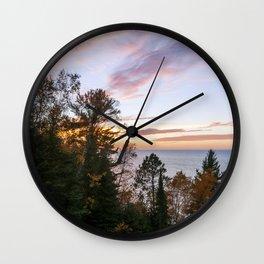 Superior Fall Colors at Sunset Wall Clock