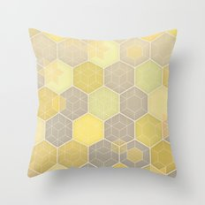 Lemon & Grey Honeycomb Throw Pillow