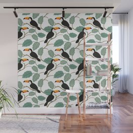 Toucan birds and palm leaves in the jungle Wall Mural