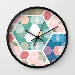 Pastel Hexagon Pattern Wall Clock