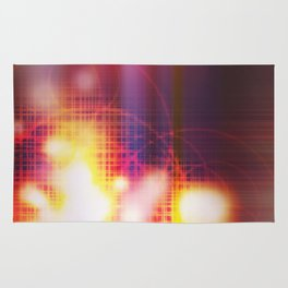 An abstract futuristic background with grid and burns or blast.  Rug