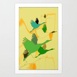 Astract cranes Art Print