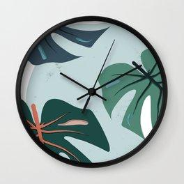 Monstera in Cerulean Wall Clock