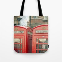telephone Tote Bags featuring Telephone by The Last Sparrow