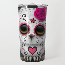 Adorable Pink Day of the Dead Sugar Skull Owl Travel Mug