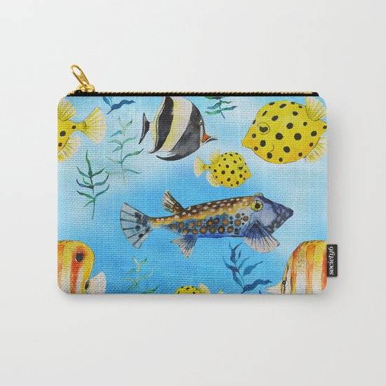 The deep sea-fishes in the sea- watercolor I Carry-All Pouch