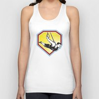 crossfit Tank Tops featuring Crossfit Athlete Muscle-Up Gymnastics Ring Retro by patrimonio