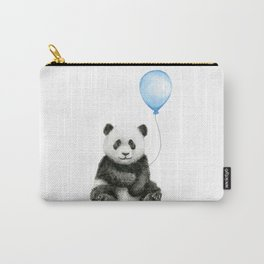 Panda Baby Animal with Blue Balloon Carry-All Pouch